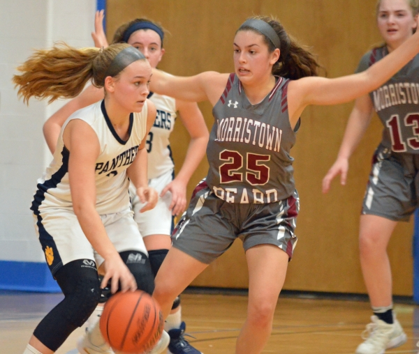 Christina DeMattheis, No. 25, fired in two 3-pointers, including a key one in the fourth quarter, when Morristown-Beard defeated St. Elizabeth on Friday, Dec. 21, 2018.