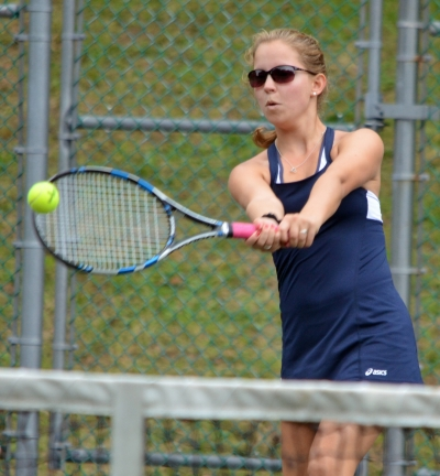 Chatham second doubles player Sydney Berkson hits a backhand during the 2018 MCT Tennis finals. Berkson teamed with Emma Sheldon and prevailed at second doubles for the Cougars, who won their sixth consecutive title.